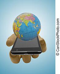smartphone, globe., puppe, plastik, schaufensterpuppen, erde, hand
