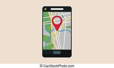 Smartphone GPS app HD animation
