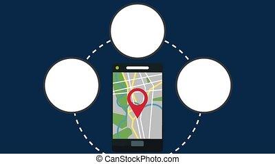 Smartphone GPS online application HD animation