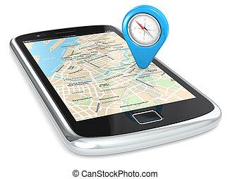 smartphone, gps, pointer.