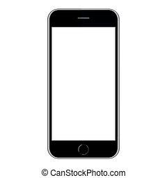 smartphone, graficzny, ekran, ilustracja, wektor, czarnoskóry, biały