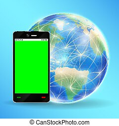 smartphone green screen with  earth globe