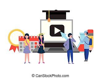 smartphone, gruppo, persone, laptop, cultura, linea