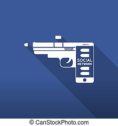 Smartphone gun weapon white color, Cyber crime in social network concept idea on blue gradient background