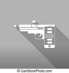Smartphone gun weapon white color, Cyber crime in social network concept idea on grey gradient background