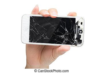 smartphone, hållande rörlig, avskärma, isolerat, hand, bruten, kvinna, bakgrund, vit