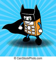 smartphone, héroe super, ilustración