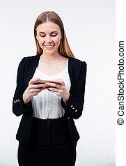smartphone, haar, businesswoman, jonge, gebruik, vrolijke