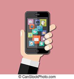 smartphone, halten hand