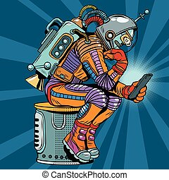 smartphone, haltung, liest, roboter, denker, astronaut, ...