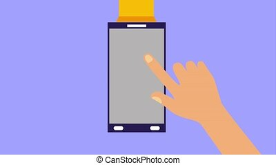 smartphone hand click shopping bag online animation hd
