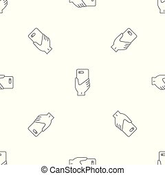 Smartphone hand pattern seamless vector