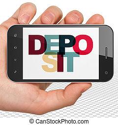 smartphone, hand, währung, deponieren, besitz, textanzeige,...