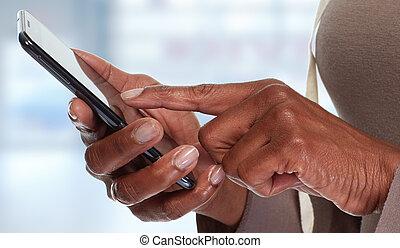 smartphone., handen