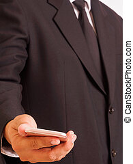 smartphone, handlowy, dzierżawa, człowiek