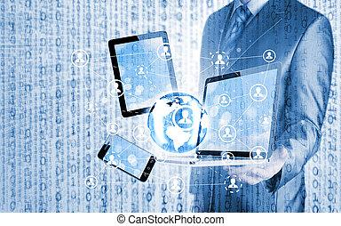 smartphone, handlowy, pastylka pc, połączenie, towarzyski, używając, człowiek