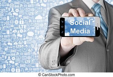smartphone, handlowy, socail, media, wręczać dzierżawę, człowiek
