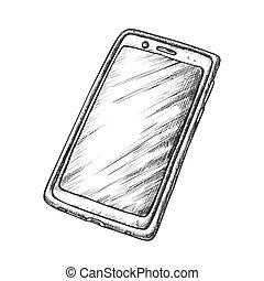 Smartphone Handset Call Technology Retro Vector