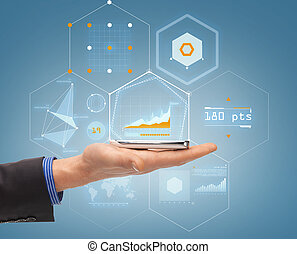 smartphone, haut, main, fin, mâle, hologramme