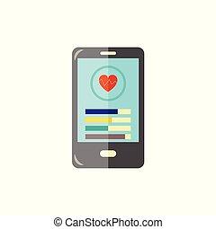 smartphone, healthcare, mobile, application., app, moderne, -, poursuite, fitness, sport, gadget