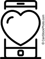 Smartphone heart icon, outline style