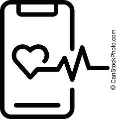 Smartphone heart monitoring icon, outline style