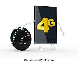 smartphone, het tonen, de, snelheid, van, 4g.