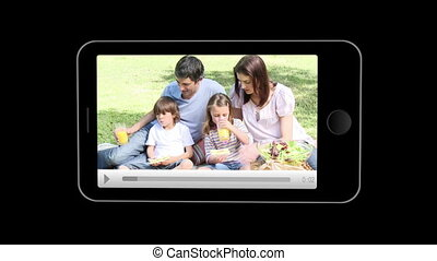smartphone, het tonen, families, relaxin