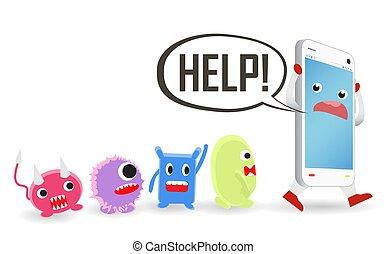 smartphone, hjælp, anfalde, virus, computer, behøve, cartoon