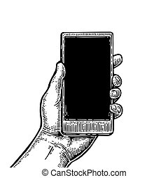Smartphone hold male hand. Vintage drawn vector engraving ...