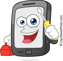 Smartphone holding a screwdriver - Clipart picture of a...