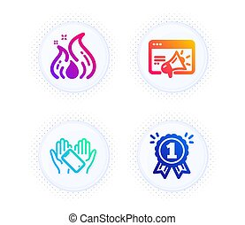 Smartphone holding, Seo marketing and Fire energy icons set...