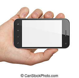 smartphone, holdingen, generisk, render., hand, bakgrund., rörlig telefonera, vit, smart, 3