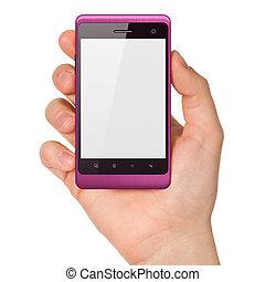 smartphone, holdingen, render, generisk, hand, bakgrund., rörlig telefonera, vit, smart, 3