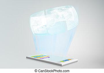 Smartphone hologram - Smartphone illustration with hologram...