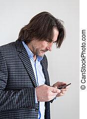 smartphone, homem, mãos
