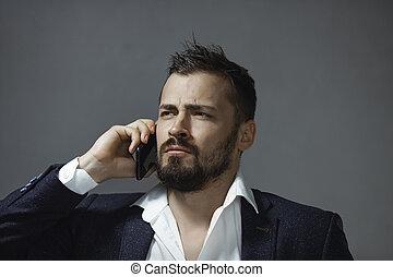 smartphone, homem, paleto