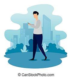 smartphone, homme, scène urbaine, jeune