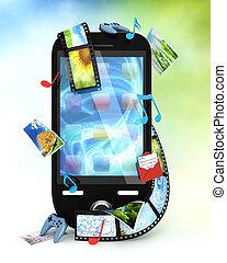 smartphone, hos, fotografier, video, musik, og, idræt