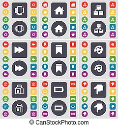 Smartphone, House, Network, Rewind, Marker, Palette, Parking, Battery, Hand icon symbol. A large set of flat, colored buttons for your design. Vector