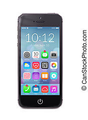 smartphone, icônes, écran, moderne, application, noir