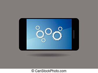 smartphone, icônes, communication mobile, global, conception, social