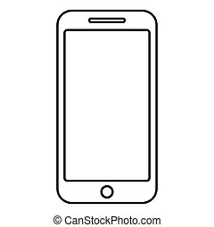 Smartphone icon black color outline vector illustration flat style image
