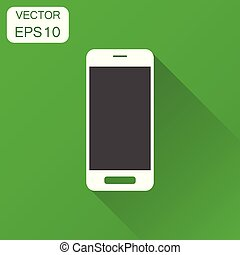 Smartphone icon. Business concept phone pictogram. Vector illustration on green background with long shadow.