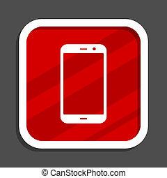 Smartphone icon. Flat design square internet banner.
