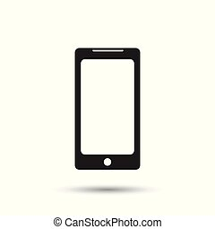 Smartphone icon. Flat vector illustration. Mobile phone sign symbol with shadow on white background.