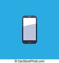 smartphone icon in flat design on blue background