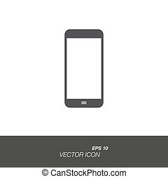 Smartphone icon in flat style isolated on white background.
