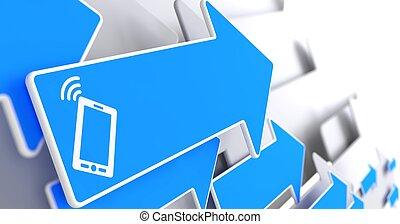 Smartphone Icon on Blue Arrow.