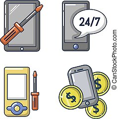 Smartphone icon set, cartoon style